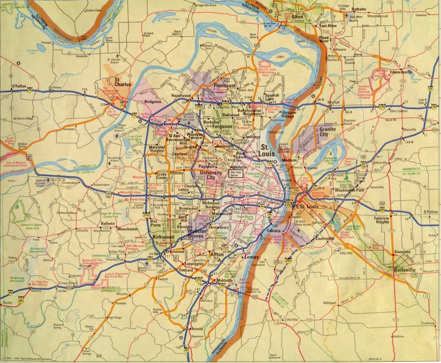 St  Louis Maps Page 1984 Area Map of St  Louis