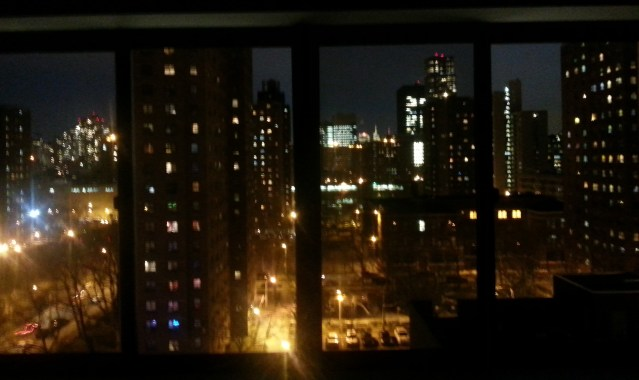 View from the 9th floor co-op apartment living room. 10-12 ft long window bank.