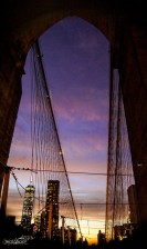 After sunset: Looking towards Lower Manhattan from the Brooklyn Bridge