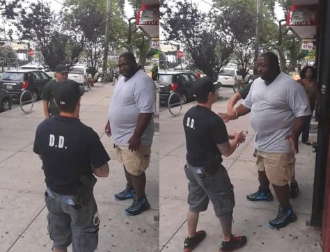 Police officers approach Eric Garner in front of a convenience store on July 17, 2014. He was suspected of selling single cigarettes.