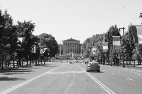 Ben Franklin Parkway looking towards Philadelphia Art Museum. Philadelphia, PA, July 2014