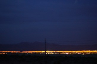 On my drive back to town, I pulled over to take pictures of the distant Vegas lights. This is what I saw with my eyes, minus the range in the background.
