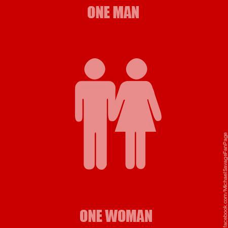 red sign one-man-one-woman
