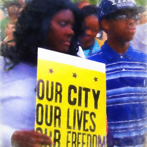 Baltimore City Hall Baltimore Rally for Freddie Gray May 2, 2015 Digital image. Post-process editing. Photo by LaShawnda Jones