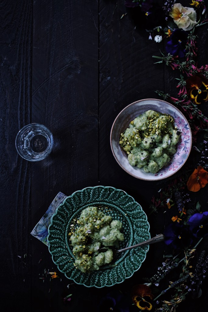 Pesto Gnocchi with Basil Blossoms