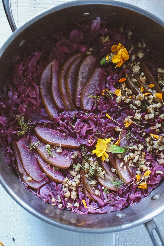 Maple-Braised Cabbage and Pears with Hazelnuts