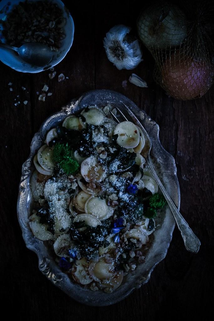 Warm Ravioli & Chard Salad with Caramelized Onions