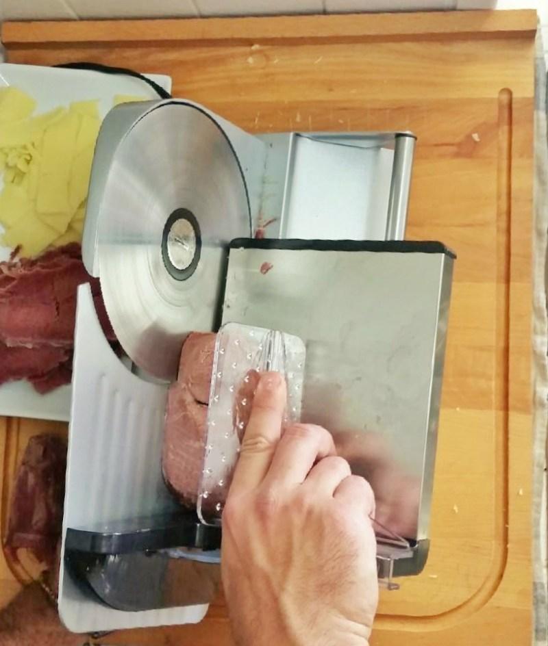 Corned Venison on Weston Meat Slicer