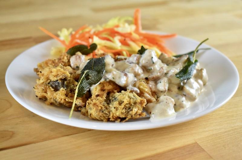 Country Fried Goose Gizzards with Sausage Gravy