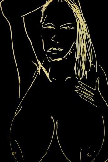 Ava Lauren in Gold Pen on Black Paper, 2017