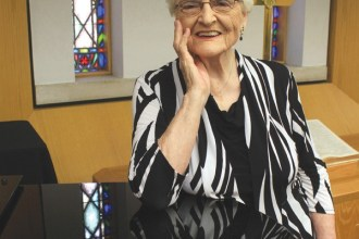 Newton Presbyterian Manor resident Eleanore Myers teaches a Bible study in the Manor?s Chapel, which is a few feet from her apartment. Photo by Wendy Nugent