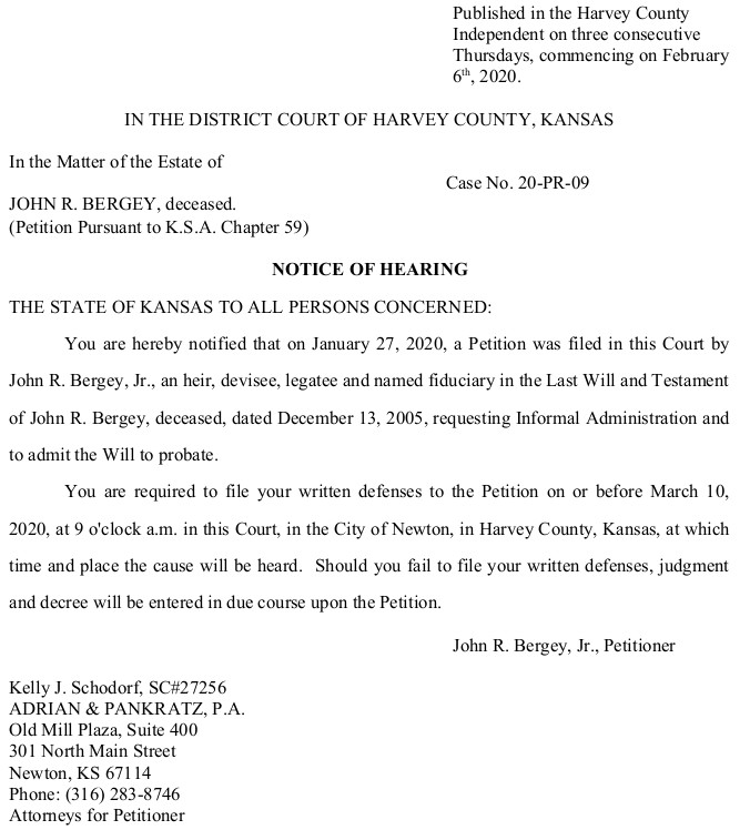 Harvey County - Bergey -Notice of Hearing - Case No. 20-PR-09