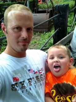 Here's one of me and the boy at Six Flags last night just before we heard about the terrible tragedy.