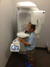 Son stood still for his X-rays.