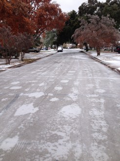 """View of our street after the """"Great Ice of 2013"""""""