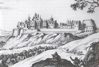 Bild: Die Festung zu Mansfeld in einem historischen Stich von Merian.