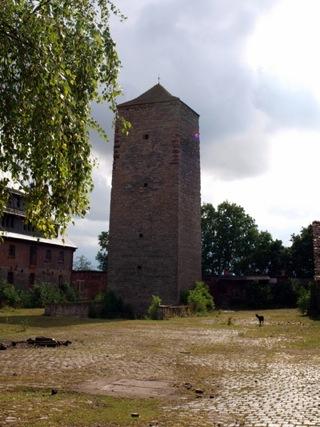 Bild: Der Bergfried am Schloss Beyernaumburg.