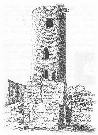 Bild: Die Ruine des Bergfriedes des Schlosses von Eisleben in einer Abbildung des späten 19. Jahrhunderts. Dieses Bild ist gemeinfrei, weil seine urheberrechtliche Schutzfrist abgelaufen ist.