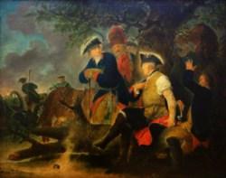 Bild: Friedrich der Große und der Feldscher (um 1793-95) von Bernhard Rode. Dieses Bild ist gemeinfrei, weil seine urheberrechtliche Schutzfrist abgelaufen ist.