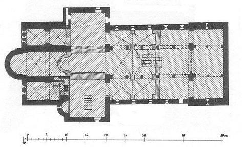 Bild: Grundriss der Stiftskirche auf dem Petersberg bei Halle an der Saale. Ende 19. Jahrhundert. Dieses Bild ist gemeinfrei, weil seine urheberrechtliche Schutzfrist abgelaufen ist.