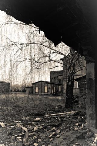 Bild: Die Ruinen des Hohenthal- oder Hans-Seidel-Schachtes an der Landesstraße L160 zwischen Helbra und Volkstedt. Foto © 2012 by Birk Karsten Ecke.