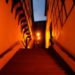Bild: Stolberg - Rathaustreppe bei Nacht.