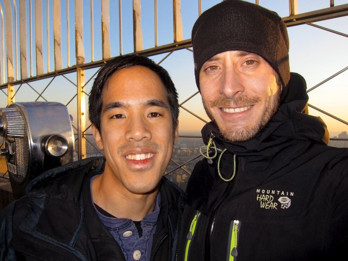 Sharing a moment with Eric before sunset on the observation deck of the Empire State Building.