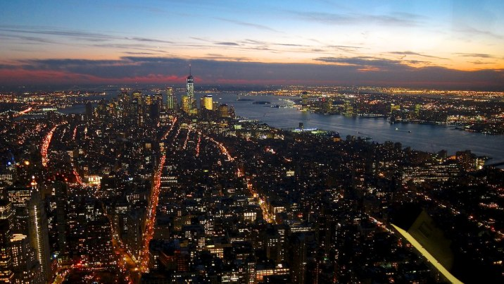 Manhattan and New Jersey after sunset from the 102nd floor of the Empire State Building.