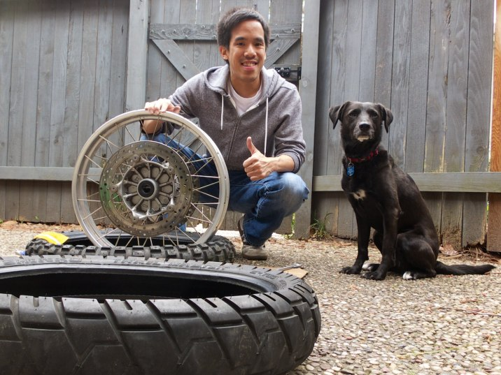 Eric and Dotti help replace the front tire.