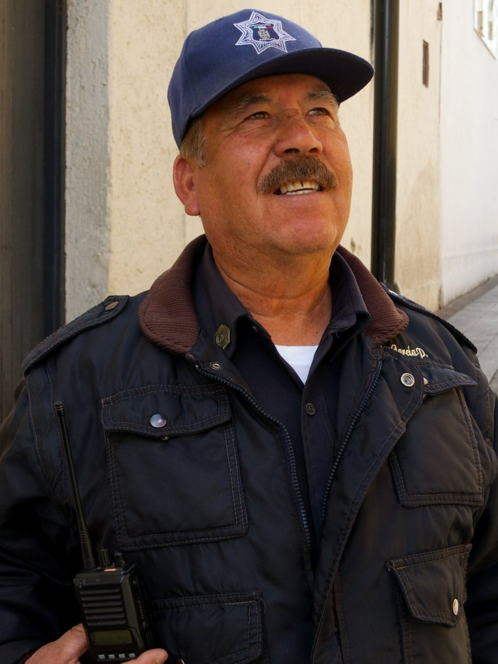 El Senior Martin manages traffic in the tourist district. We talk for a great time about the United States and Mexico, he in the best English he can manage, and I in the best Spanish I can manage. We have many laughs.