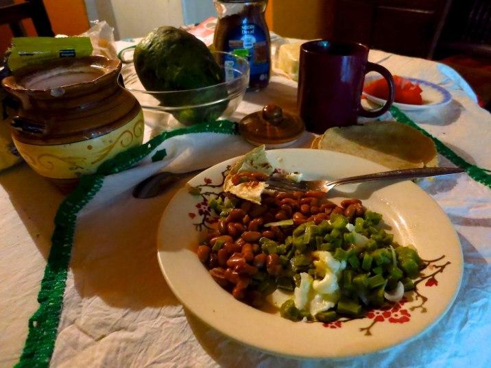 Eggs, tortillas, beans, and cactus.