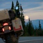 A full moon setting outside Delta Junction on the Richardson Highway.