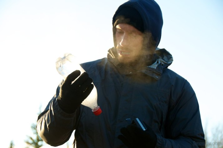 Ben warms a camera battery by mouth and wonders how he'll boil oats in ice.