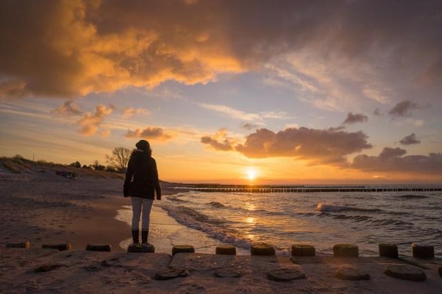 Ahrenshoop Sonnenuntergang Wellenbrecher 1