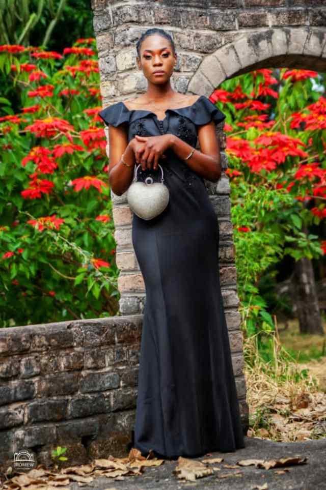 Nyasha Chidimu in a long black dress - Ideal for Bridesmaid