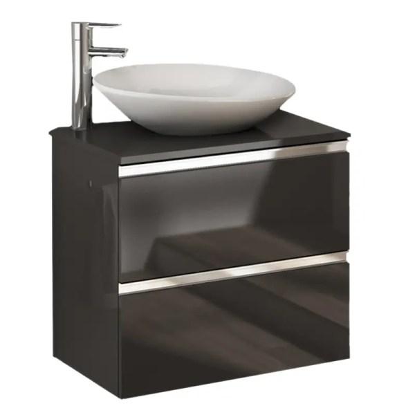 szafka z blatem 80 cm szary połysk z umywalką nablatową vida