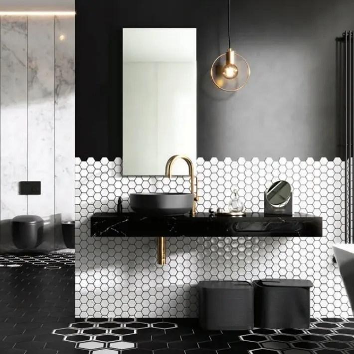 konsola ELITSTONE do łazienki w kolorze czarnego marmuru