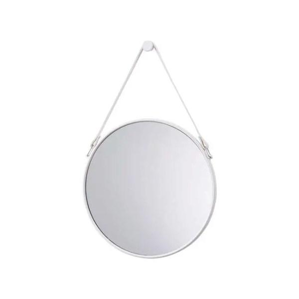 białe lustro okrągłe na pasku skórzanym