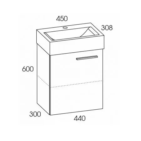 rozmiar szafka z umywalka tiny 45 elita