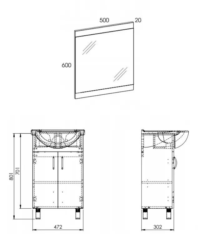 Wymiary szafki  łazienkowej na nóżkach 50 cm z umywalka i lustrem