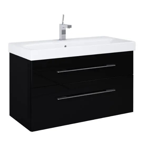 szafka z umywalka barcelona 100 black czarna polysk lakier elita