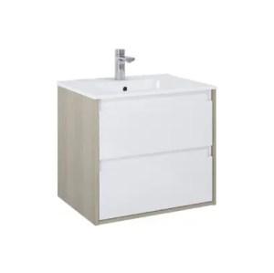 szafka z umywalka desi plus 60 2s white sandygrey elita bialo szara