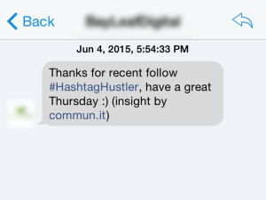 An example of an automated direct message (DM).