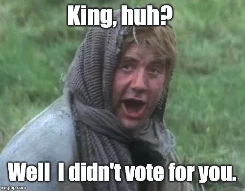 Image result for monty python king arthur I didn't vote for you