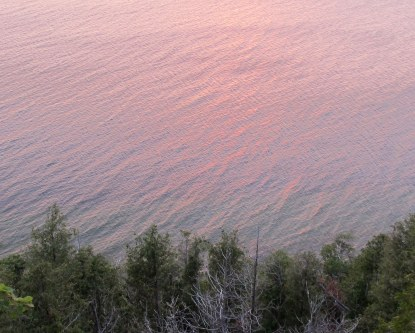 Door County sunset reflected on the water, photo by quirkyjazz, aka Jill