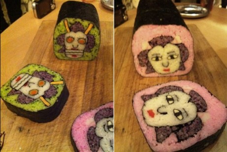 by 生活童話 sushi heads green and pink