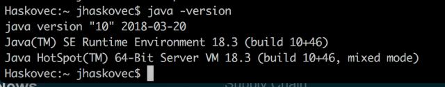 Java version text