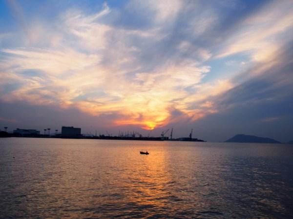 宇多津臨海公園よりの夕日