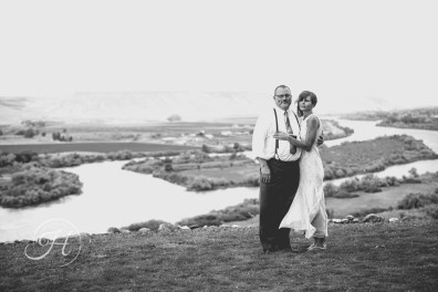 Couple Wedding Black and White Fox Canyon Vineyards Idaho Wedding Photographer