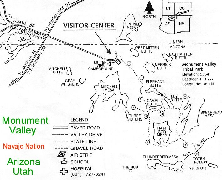 Monument Valley Navajo Nation Car Map